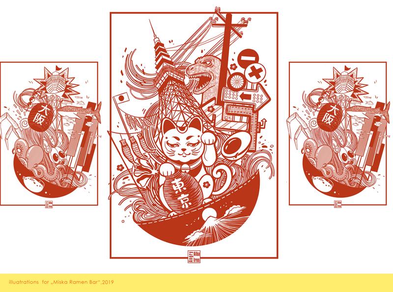 Osaka*Tokyo*Kyoto procreate digital art lineart japan ramen illustration angryalbatros
