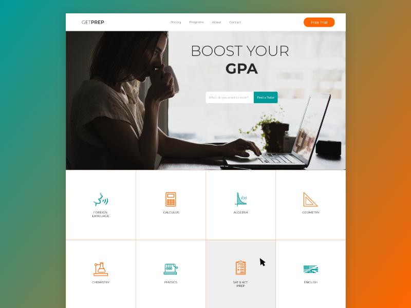 GetPrep - Tutoring Company Website web above the fold 2d landing page service tutoring tutor website web design