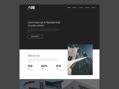 Modern Design for Construction Company Website ui above the fold website landing page web web design