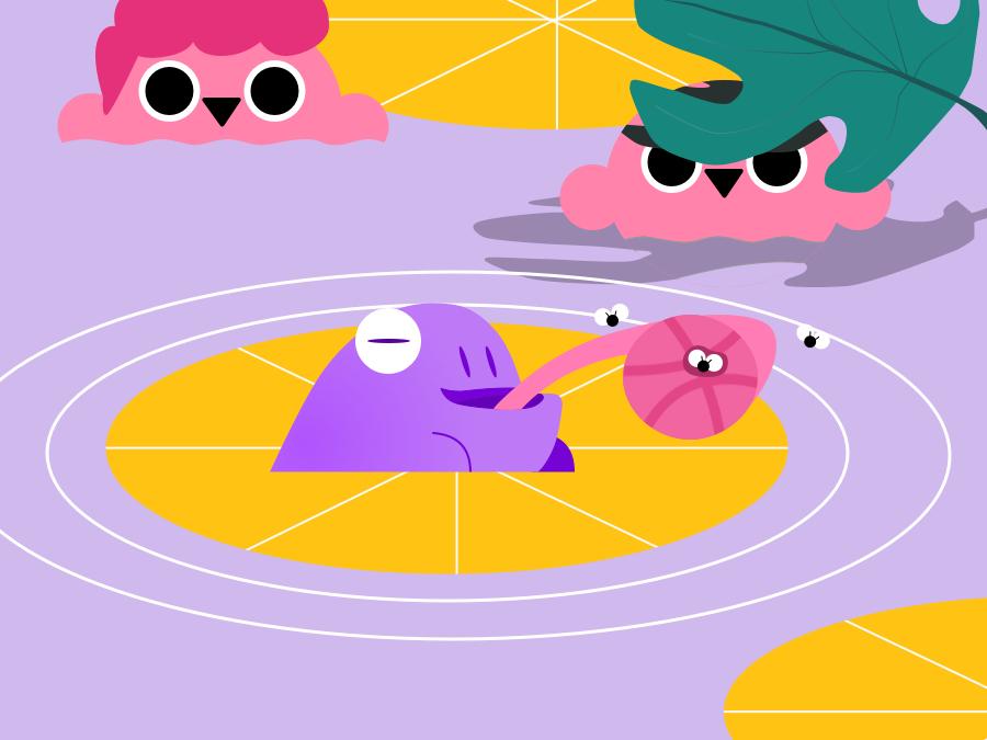 Hello Dribbble watercolor shadow plant purple water person people type minimal flat animation vector illustration design first animal frog kid hellodribbble hello