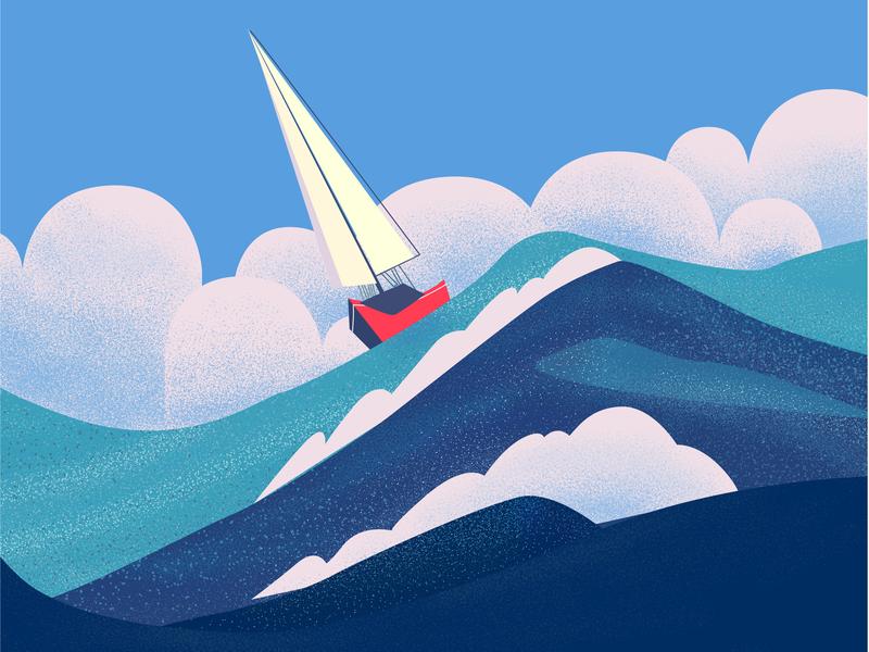 Wild Ocean color watercolor grain gradient wild sky clouds cloud boat water sea ocean work drawing illustration flat