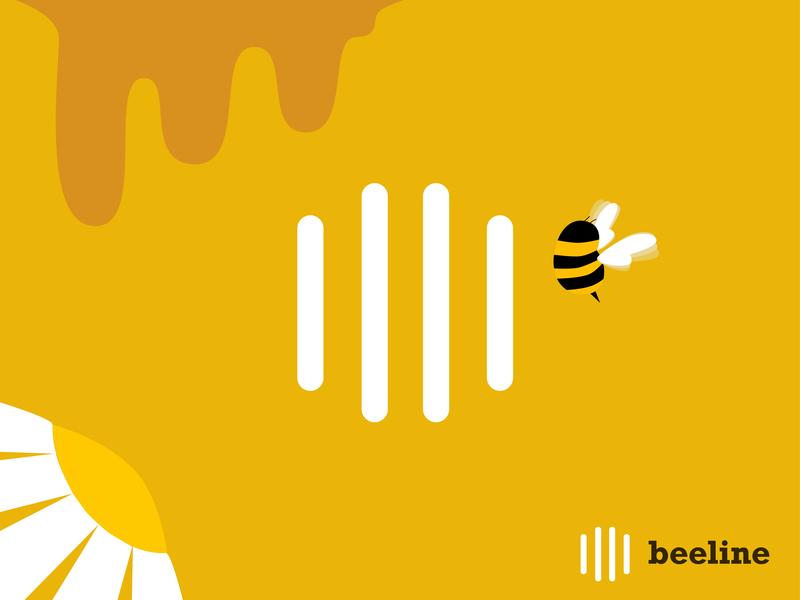 Beeline - Logo Design animal illustration vector ui yellow fly icon set icon design designer flower honeycomb honey beeline bee design branding brand logo icon flat