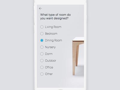 Interior Design Survey minimal ui iphone design app survey