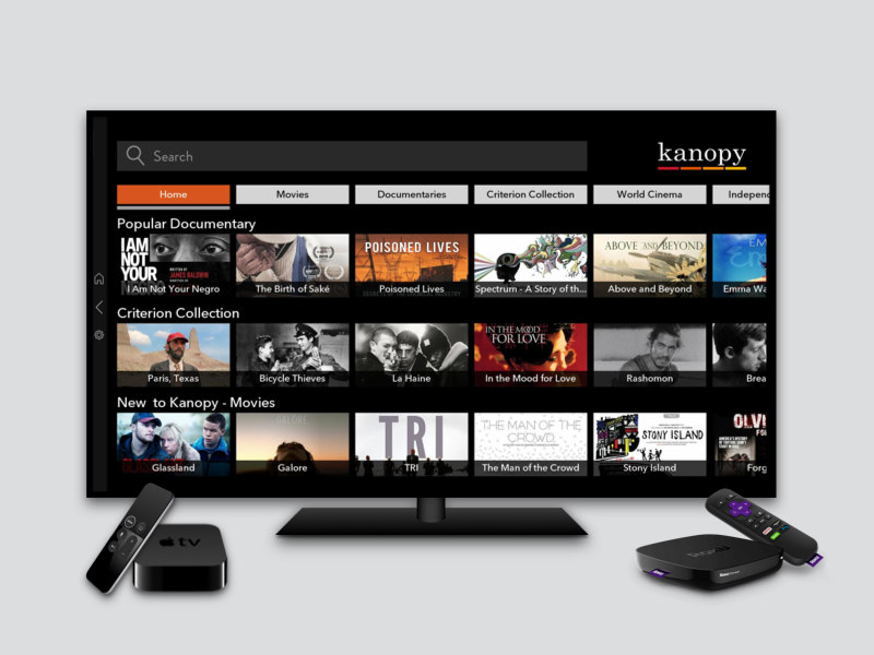 Kanopy Video App wireframe prototype graphic design user flows apple tv roku android ios ui ux app design product design