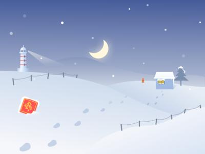 夜晚的雪景