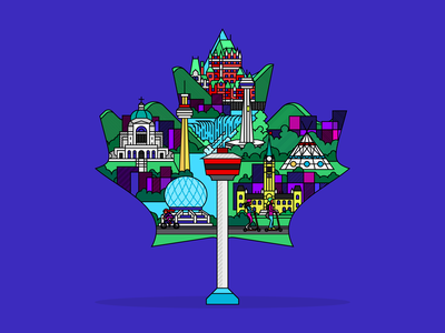 Canada Maple Leaf flag teepee mapleleaf niagara cn tower micromobility city ilustrator scooters spin illustration vector