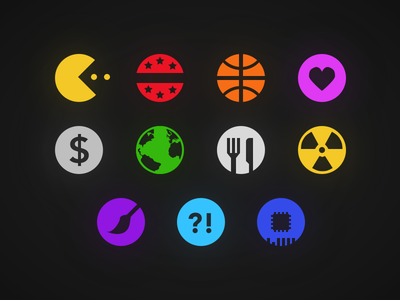 News Category Icons technology facts art science food business health sports politics gaming glyphs icons
