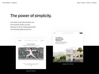 Brian Gardner Redesign minimalism wordpress minimalist design black and white