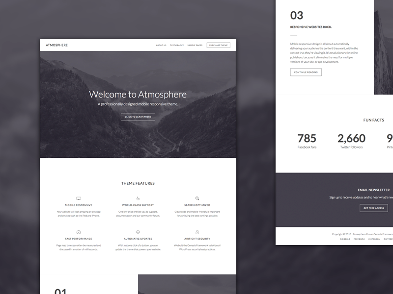 Atmosphere Theme minimalist design wordpress genesis framework genesis