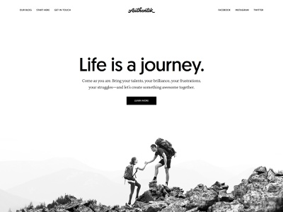 Authentik Homepage Redesign minimalism monochrome black and white mountains minimalist design genesis framework wordpress