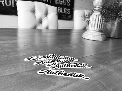 Authentik Stickers typography minimalist design design simple living black and white minimalism