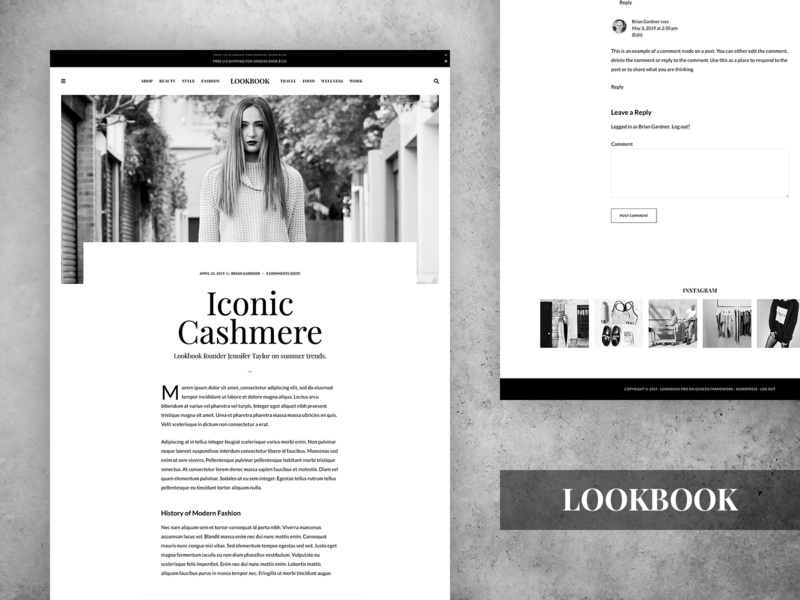 Lookbook Pro Theme black and white minimalist minimalism minimalist design genesis framework wordpress