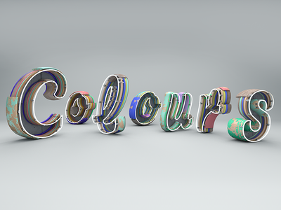 Colors calligraphy typo grunge retro cinema4d colors lettering typography 3d