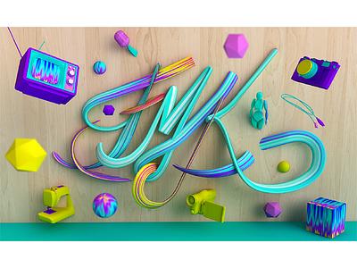 FMK typography fmk devices calligraphy typography typo 3d cinema4d c4d catwalk model render