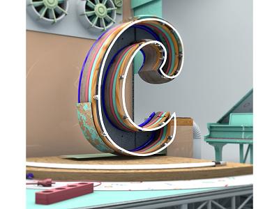 """C"" 3dtype type calligraphy render industrial cinema4d c4d 3d font letter lettering typography"