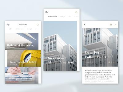 Magazine concept minimalist feed article bookmarks application news magazine sketch app design