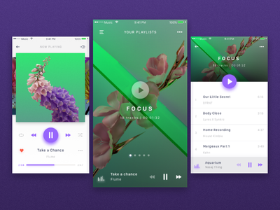 Music Player app music player playlist album floral app ui sound music mobile interface