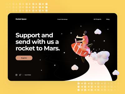 Mars Mission - Landing Page Design mobile design mobile ui mobile app ui  ux uidesign ui design alphadesign modern mobile uiux ux ui minimal germany designs design clean 2021 trend 2021 design 2021