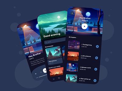Audio Book - App Design Concept dark mode dark app dark ui dark alphadesign mobile app design mobile design mobile app mobile ui mobile ux ui minimal germany designs design clean 2021 trend 2021 design 2021