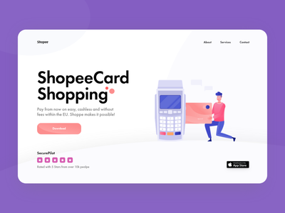 ShopeeCard - Landing Page Design modern crypto currency julius branding alphadesign ecommerce design ecommerce digital crypto wallet cryptocurrency crypto ux ui minimal germany designs design clean 2021 trend 2021 design 2021
