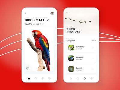 Save Birds - Mobile App Design save animal animals birds modern mobile design mobile app design mobile ui mobile app mobile ui julius branding alphadesign germany designs design clean 2021 trend 2021 design 2021