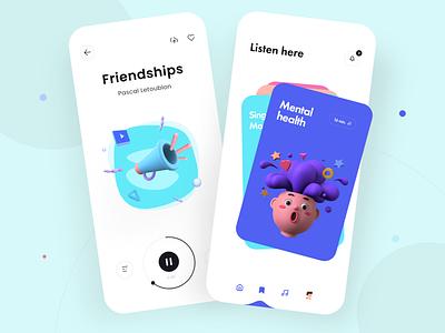 Music App - Mobile Design Concept modern mobile app ux app ui app design music app mobile ux mobile ui mobile design mobile julius branding designs design alphadesign clean 2021 trend 2021 design 2021 graphic design 3d