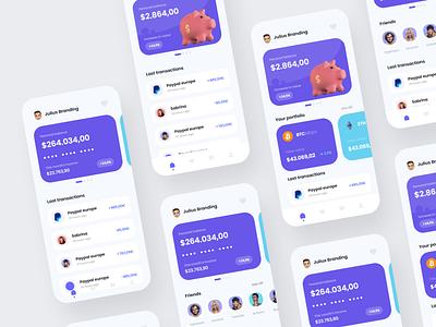 Banking App - Mobile Design Concept trade crypto money banking app modern banking banking julius branding trendy shiny modern ui logo illustration alphadesign design designs clean 2021 trend 2021 design 2021