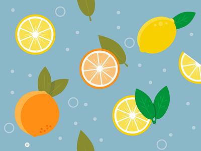 Citrus fruits on blue background: tiling pattern illustration