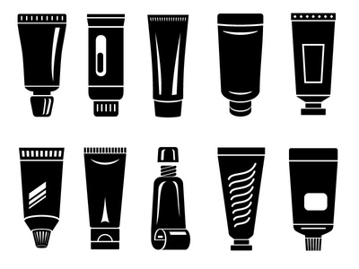 Tube icons set simple creme, container package