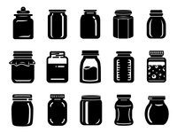 Jar for jam or honey icons set simple style