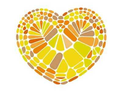 Heart from rounded tiles VIDEO TUTORIAL