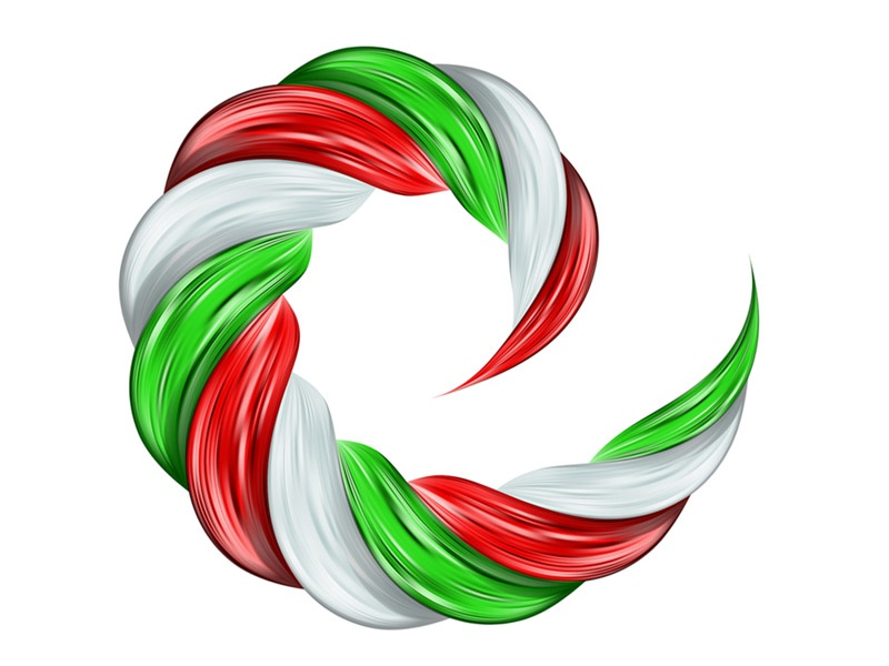 Italy flag swirl realistic realistic curl spiral flow color swirl flag italy