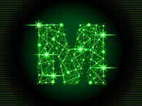 Fireworks letter M sparkles flow