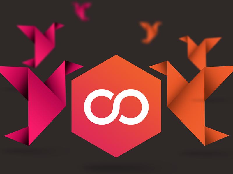 Stackdot Logo & Origami stackdot origami depth gradient pastel infinity brand logo
