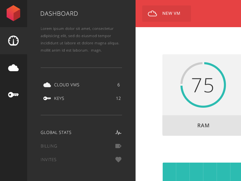 STACKDOT Client Admin Page stackdot admin dashboard panel ui charts graphs flat pastel hosting cloud