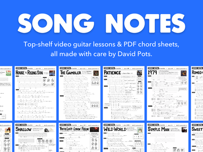 Chord-sheet infused banner image for Song Notes print blue song chords guitar music chord sheet