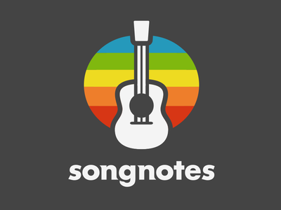 More logo exploration. dark rainbow guitar songnotes