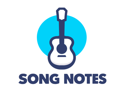 songnotes logo tweak fun icon music chords fretboard davidpots song notes illustration side project instrument logo songnotes blue guitar