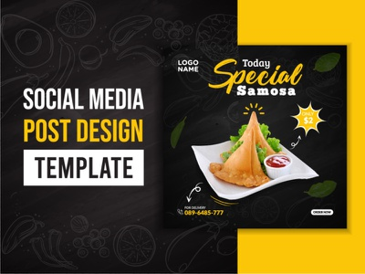 Social Media / Food Social Media post samosa food and drink social media templates social media pack food social media banner food app branding social media design