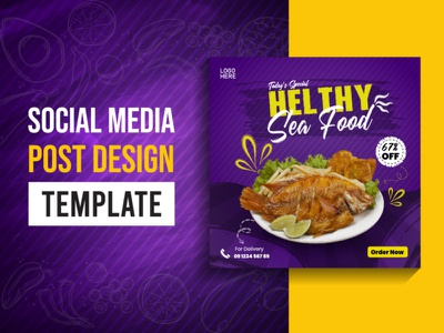 Social Media Post Design restaurant flyer sale layout offer promo social poster media business post modern banner marketing promotion background food vector template design