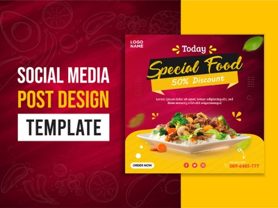 food social media post restaurant flyer sale layout offer promo social poster media business post modern banner marketing promotion background food vector template design