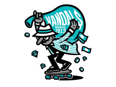 Downhill Bandit shirt crew longboarding skateboarding bandit street design illustration