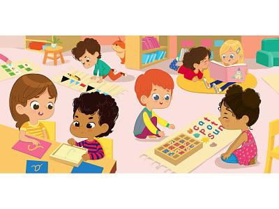 Literature area in Montessori Class games classroom cartoon school montessori kindergarten character foxyimage kids children illustration