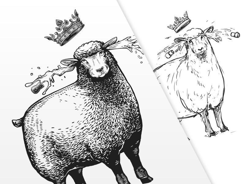 Lena illustration queen crown animal illustration animal black and white engraving labeldesign vector illustraion graphic sheep