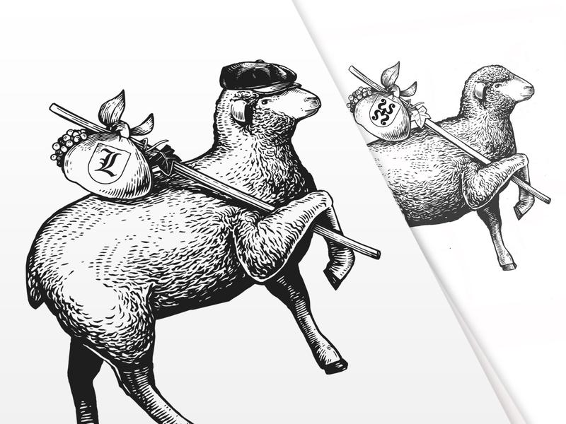 Vagabondo grape vine black and white label illustration label animal art animal illustration sheep illustraion engraving vagabondo vector vintage