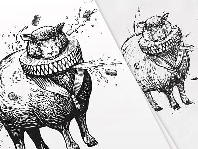 Leonce graphic style prince animals animal art black  white illustration label vector vine engraved sheep