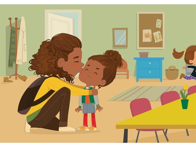 The Goodbye Kiss parenting illustraion mother and child school foxyimage kids children illustration vector