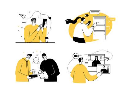 Remote Work freelancer messaging videochat lineart quarantine black  white remote work vector illustration flat illustration