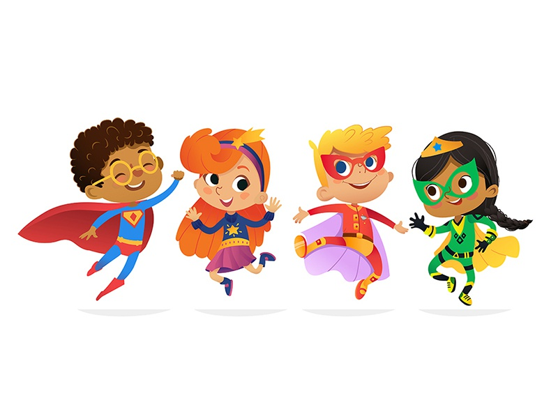 Superhero Kids dance vector illustration party costume child kid super hero