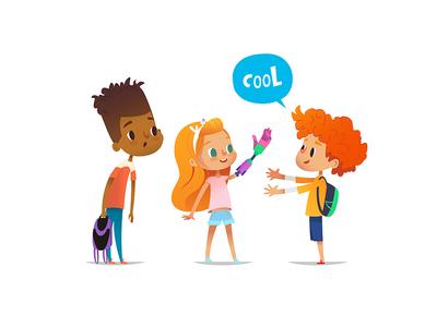 Admiration emotions admire school children illustration vector character artificial kidsart